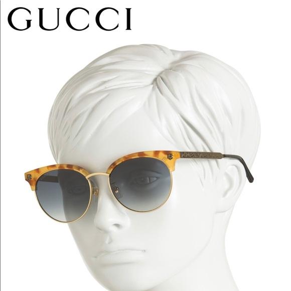 Gucci GUCCI Engraved Classic Round Sunglasses